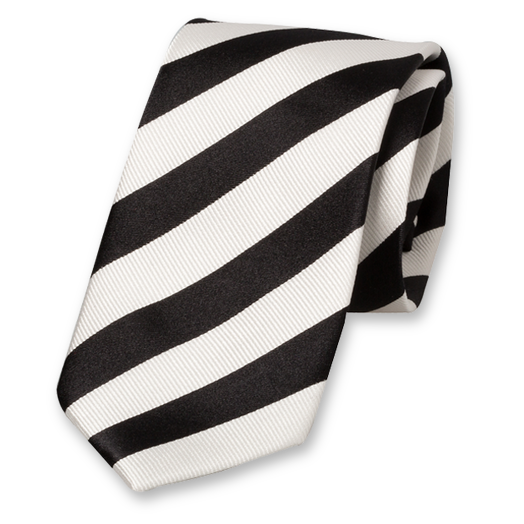 Black-White Striped Tie - Satin Silk (1)