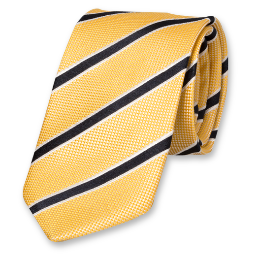 Yellow-Navy Striped Tie - Silk (1)