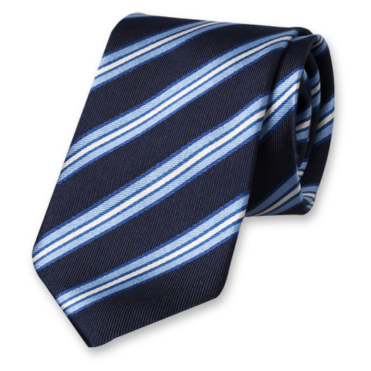 Dark Blue Striped Tie - Silk (1)