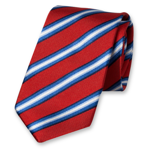 Red Tie with Stripes - Silk (1)