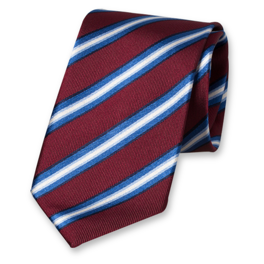 Burgundy Striped Tie - Silk (1)