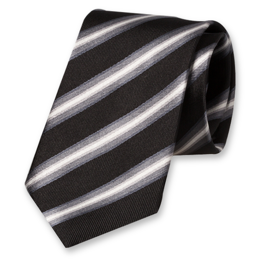 Black Striped Tie - Silk (1)