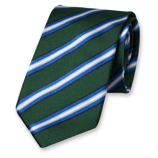Dark Green Striped Tie - Silk (1)