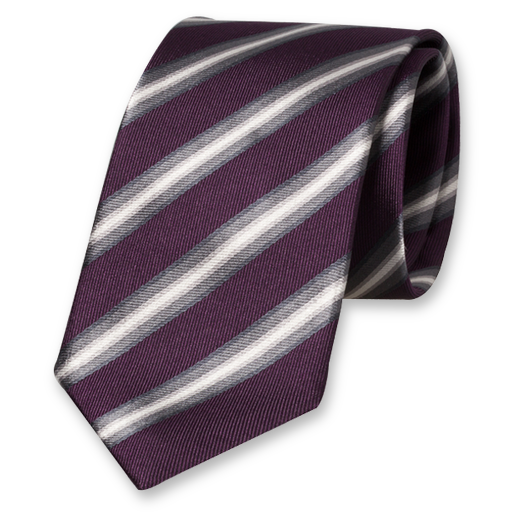Aubergine Striped Tie - Silk (1)