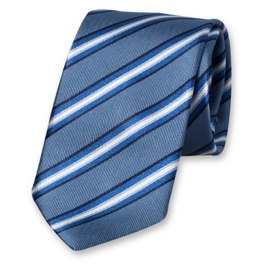 Blue Striped Tie - Silk (1)
