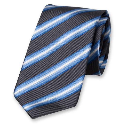 Anthracite Striped Tie - Silk (1)