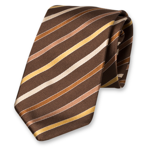 Brown Striped Tie - Silk (1)