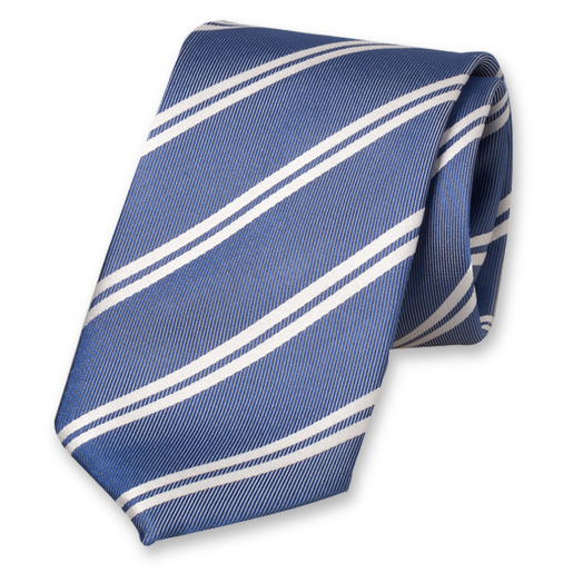 Blue-White Tie with Stripes - Silk (1)