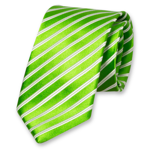 Apple Green-White Striped Tie - Silk (1)