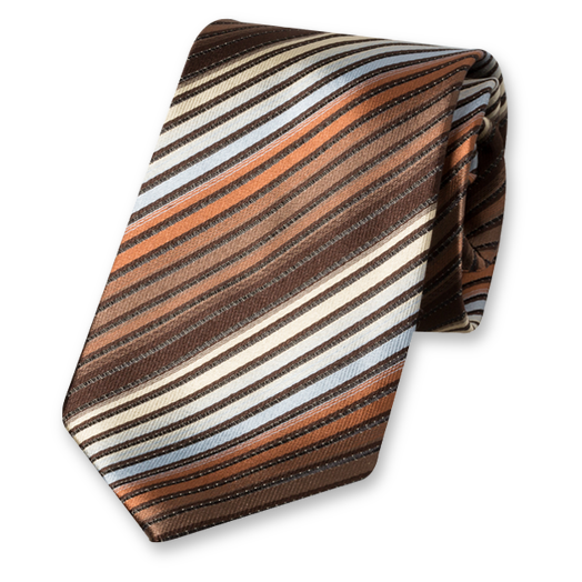 Brown Multistripe Tie - Silk (1)