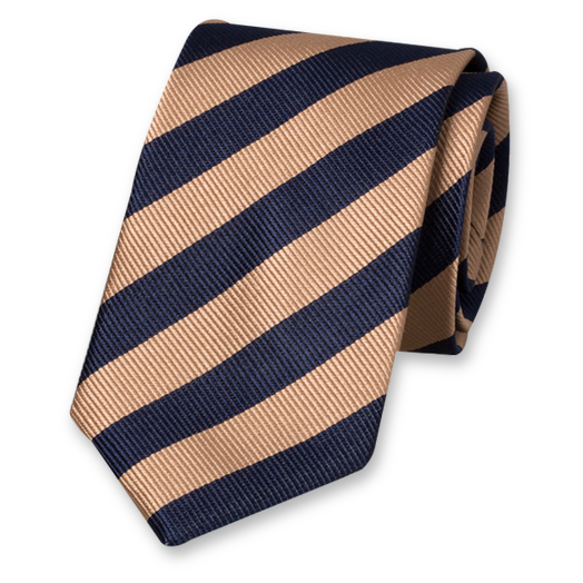 Beige/dark blue striped tie (1)