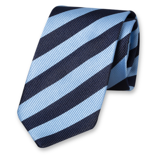 Blue-Dark Blue Striped Tie - Silk (1)