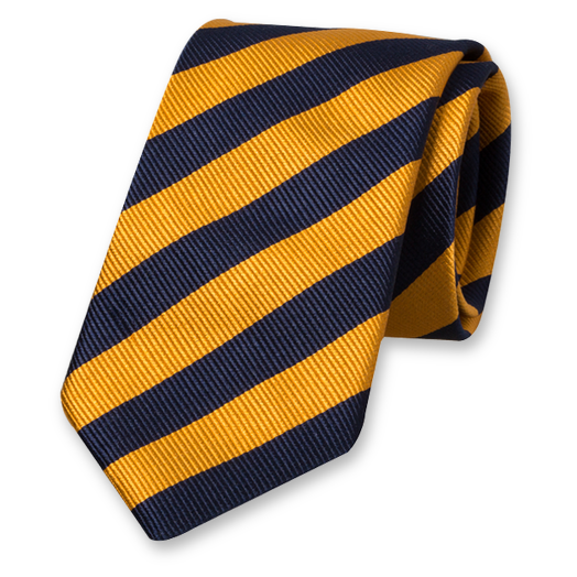Yellow-Dark Blue Striped Tie - Silk (1)
