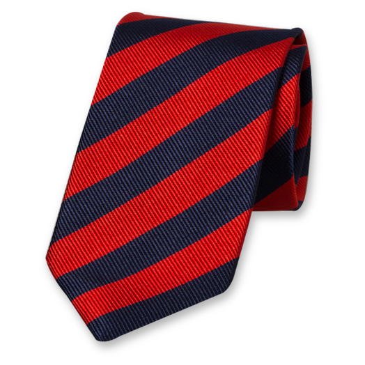 Red-Navy Striped Tie - Silk (1)