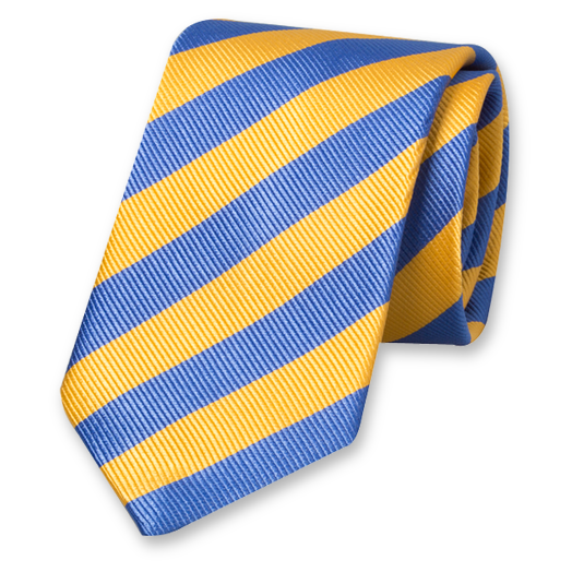 Yellow-Blue Striped Tie - Silk (1)