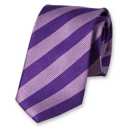 Lilac-Purple Striped Tie - Silk (1)