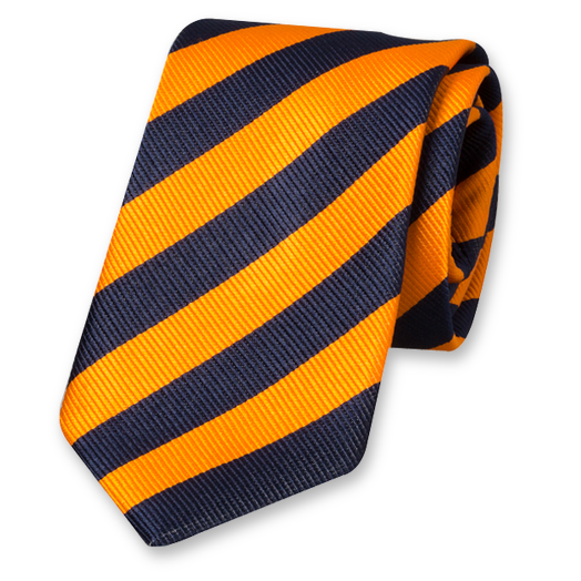 Orange/dark blue striped tie (1)