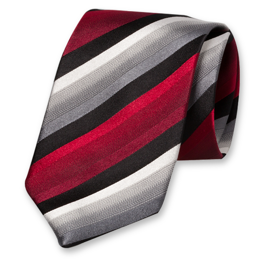 Black-Red-Grey Striped Tie - Silk (1)