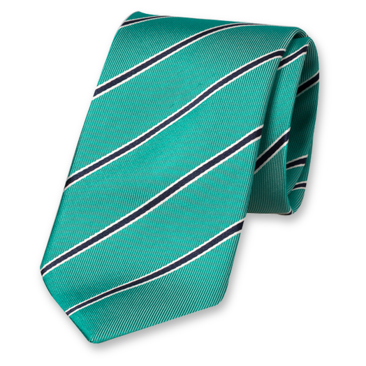 Sea Green Striped Tie - Silk (1)
