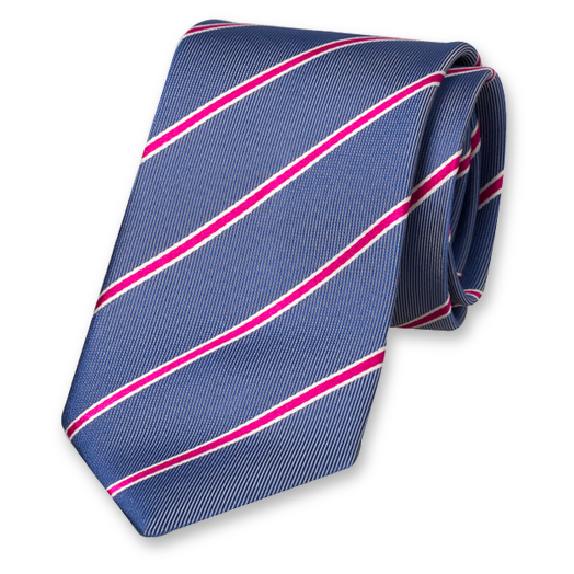 Navy Striped Tie - Silk (1)
