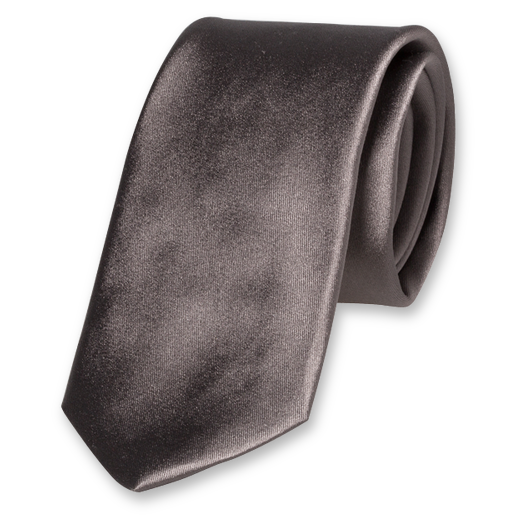 Grey Deluxe Tie - Satin Silk (1)