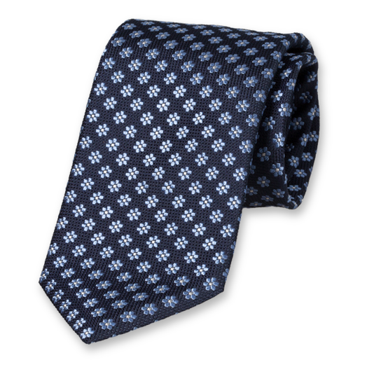 Necktie with Blue Flowers - Silk (1)