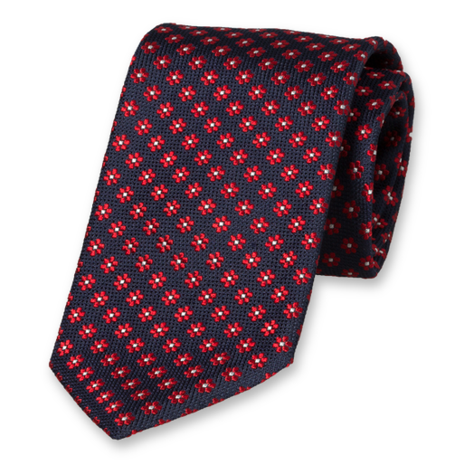 Necktie with Red Flowers - Silk (1)