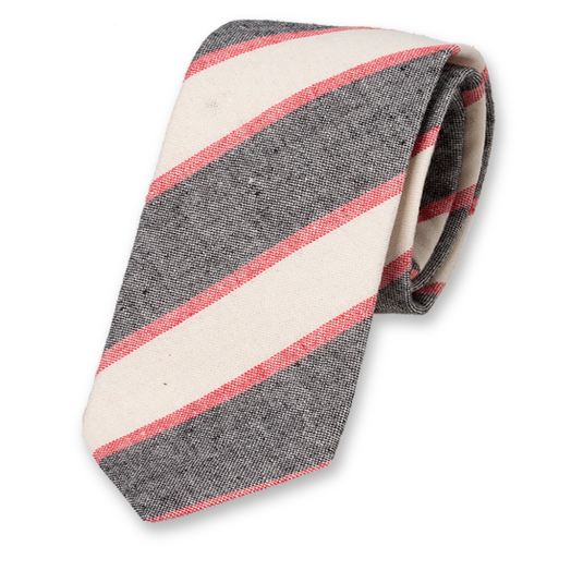 Linen tie in red-white-grey with stripes (1)