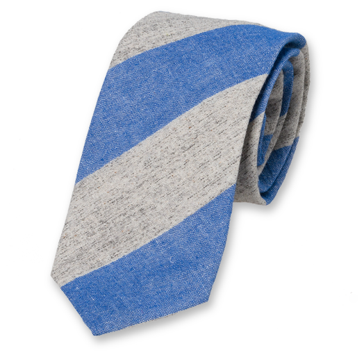 Linen tie blue with stripes (1)