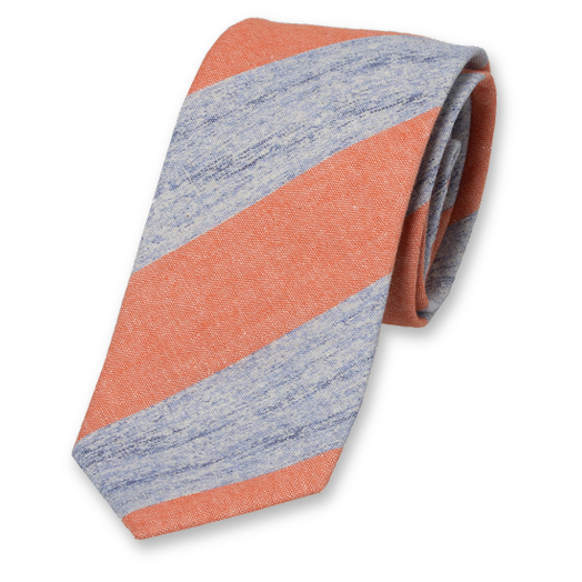 Linen tie orange with stripes (1)