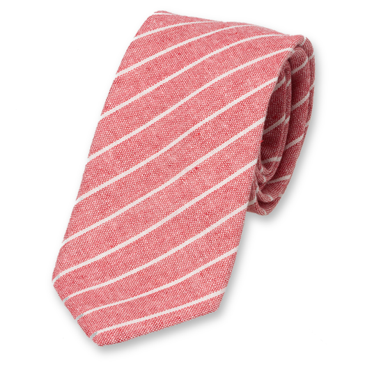 Red-White Tie with Stripes - Linen (1)