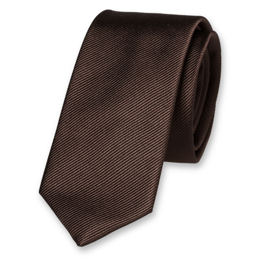 Brown Skinny Tie - Silk (1)