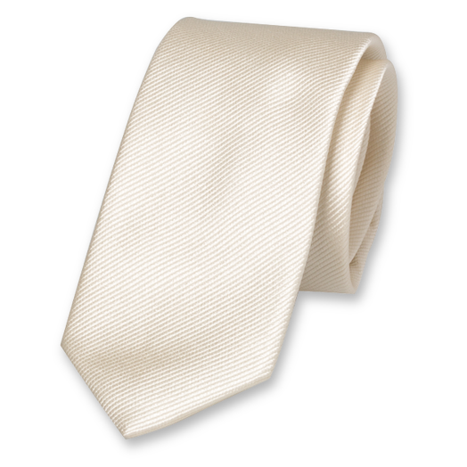 Cream White Skinny Tie - Silk (1)