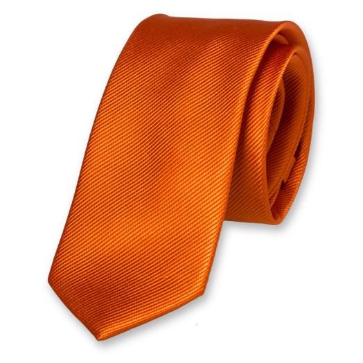 Dark Orange Skinny Tie - Silk (1)