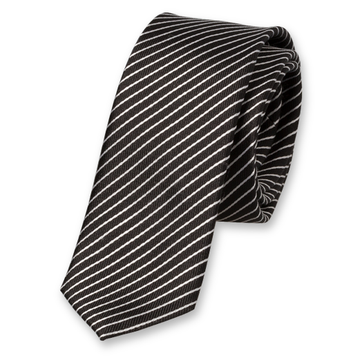 Black-White Extra Skinny Tie - Silk (1)