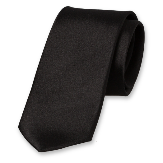 Black Skinny Tie - Satin Silk (1)