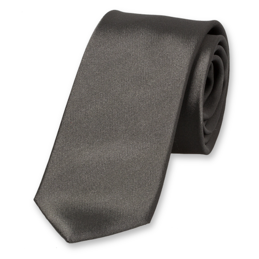 Anthracite Skinny Tie - Satin Silk (1)