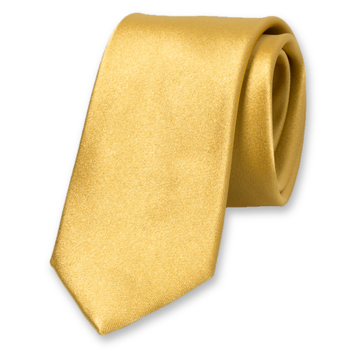 Skinny Tie Gold - Satin Silk (1)