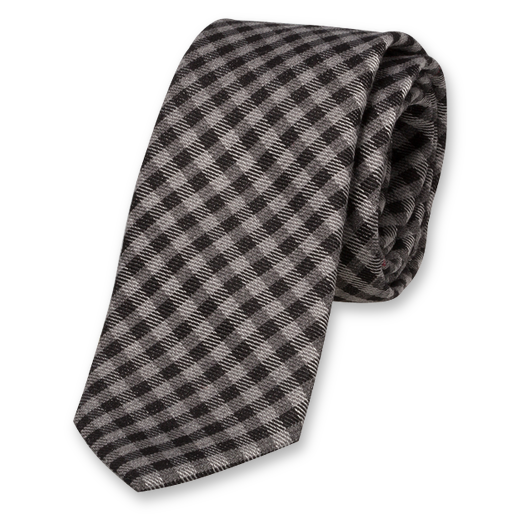 Fine Checked Skinny Tie - Wool (1)