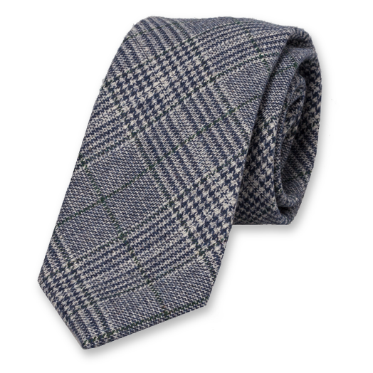 Checked Wool Blue Tie (1)