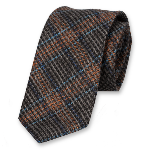 Checked Wool Black-Orange Tie (1)