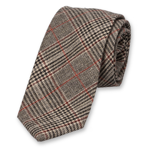 Wool Checkered Tie - Beige - Black - Red (1)