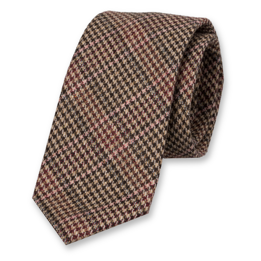 Checked wool brown/fuchsia tie (1)