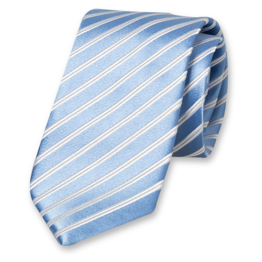 Light Blue Striped Extra Long Tie - Silk (1)
