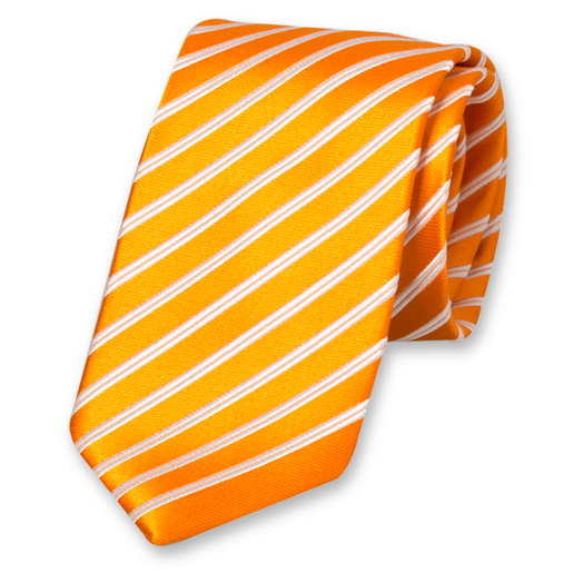 Orange Striped Extra Long Tie - Silk (1)