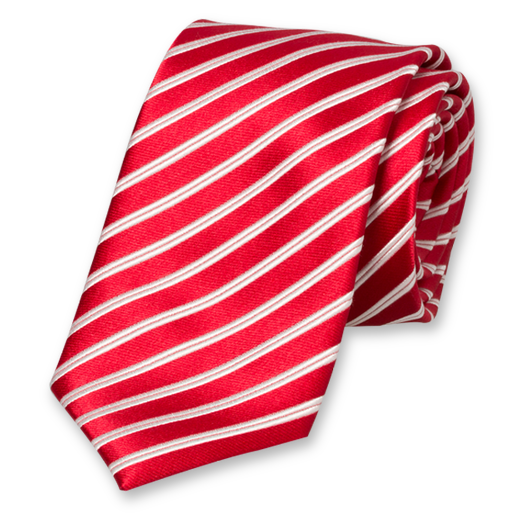 Red Striped Extra Long Tie - Silk (1)