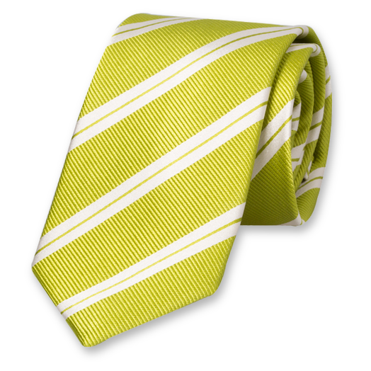 Lime Striped Extra Long Tie - Silk (1)