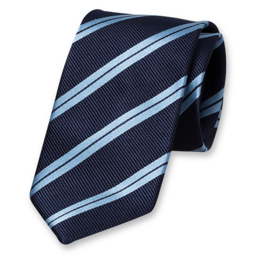 Dark Blue-Blue Striped Extra Long Tie - Silk (1)