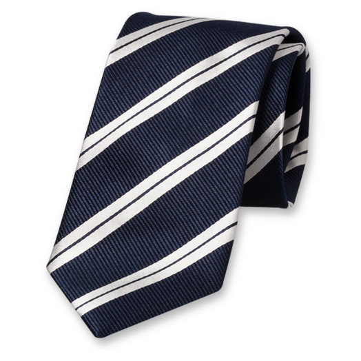 Dark Blue-White Striped Extra Long Tie - Silk (1)