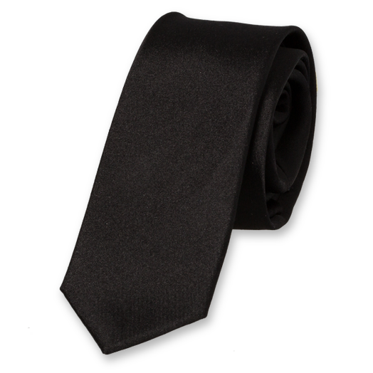 Black Super Skinny Tie - Satin Silk (1)